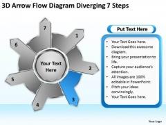 3d Arrow Flow Diagram Diverging 7 Steps Gear PowerPoint Templates