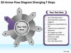 3d Arrow Flow Diagram Diverging 7 Steps Ppt Relative Cycle PowerPoint Slides