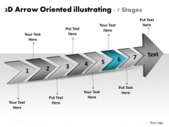 3d Arrow Oriented Illustrating 7 Stages Business To Strategies PowerPoint Templates