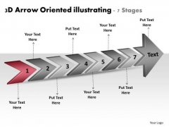 3d Arrow Oriented Illustrating 7 Stages Customer Tech Support PowerPoint Templates
