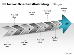 3d Arrow Oriented Illustrating 7 Stages Free Flowchart PowerPoint Slides
