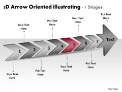 3d Arrow Oriented Illustrating 7 Stages Production Planning Flow Chart PowerPoint Slides