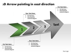 3d Arrow Pointing East Direction Electronic Circuit Design PowerPoint Templates