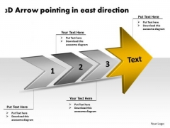 3d Arrow Pointing East Direction Making Flowchart PowerPoint Slides