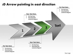 3d Arrow Pointing East Direction Ppt Flow Diagram PowerPoint Slides