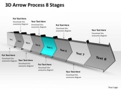 3d Arrow Process 8 Stages Business Flow Chart Free PowerPoint Templates