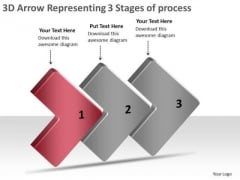 3d Arrow Representing Stages Of Process Flow Chart Template PowerPoint Templates