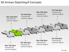 3d Arrows Depicting 8 Concepts Flow Chart Generator PowerPoint Templates