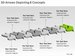 3d Arrows Depicting 8 Concepts Ppt Electrical Design PowerPoint Templates