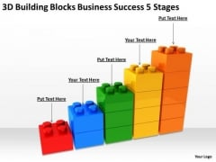 3d Building Blocks Business Success 5 Stages Ideas PowerPoint Slides