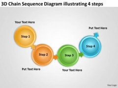 3d Chain Sequence Diagram Illustrating 4 Steps Make Flowchart PowerPoint Templates