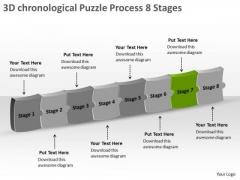 3d Chronological Puzzle Process 8 Stages Electronic Schematic Drawing PowerPoint Templates
