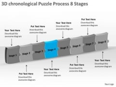 3d Chronological Puzzle Process 8 Stages Freeware Flowchart Slides PowerPoint Templates