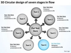 3d Circular Design Of Seven Stages In Flow Arrows Diagram Software PowerPoint Slides