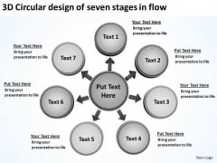 3d Circular Design Of Seven Stages In Flow Pie Chart PowerPoint Templates