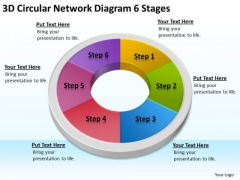 3d Circular Network Diagram 6 Stages Clothing Store Business Plan PowerPoint Templates