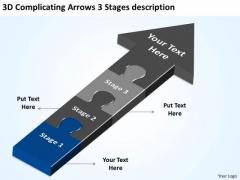 3d Complicating Arrows Stages Description Business Plan Project PowerPoint Templates