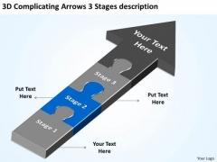 3d Complicating Arrows Stages Description Pro Forma Business Plan PowerPoint Slides