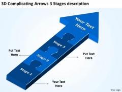 3d Complicating Arrows Stages Description Slides Flow Charts PowerPoint Templates