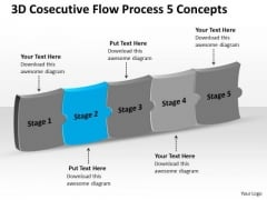 3d Consecutive Flow Process 5 Concepts Ppt Tech Support Chart PowerPoint Slides
