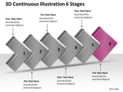 3d Continuous Illustration 6 Stages Business Flowcharting PowerPoint Free Slides