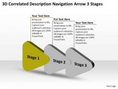 3d Correlated Description Navigation Arrow Stages Business Flowcharting PowerPoint Free Slides