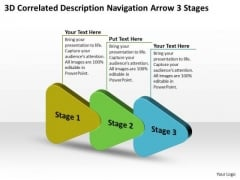 3d Correlated Description Navigation Arrow Stages Flowcharting PowerPoint Free Slides
