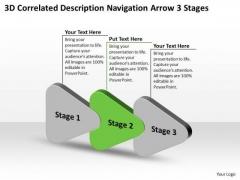 3d Correlated Description Navigation Arrow Stages Ppt Freeware Flowchart Slides PowerPoint Templates