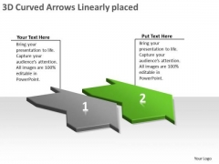 3d Curved Arrows Linearly Placed Creating Flowcharts Visio PowerPoint Slides