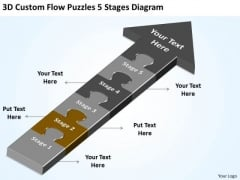 3d Custom Flow Puzzles 5 Stages Diagram Business Continuity Plan Software PowerPoint Slides