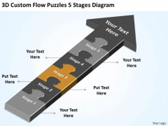 3d Custom Flow Puzzles 5 Stages Diagram Ppt Example Of Good Business Plan PowerPoint Slides
