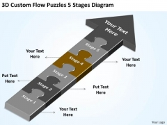 3d Custom Flow Puzzles 5 Stages Diagram Startup Business Plan Template PowerPoint Slides
