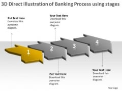 3d Direct Illustration Of Banking Process Using 4 Stages Flowchart PowerPoint Free Templates