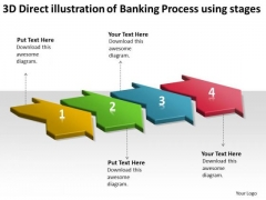 3d Direct Illustration Of Banking Process Using 4 Stages Manufacturing Flow Chart PowerPoint Slides