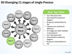 3d Diverging 11 Stages Of Single Process Circle Arrows Network Software PowerPoint Slides