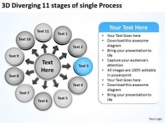 3d Diverging 11 Stages Of Single Process Circular Flow Arrow Chart PowerPoint Slides