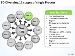 3d Diverging 11 Stages Of Single Process Pie Diagram PowerPoint Templates