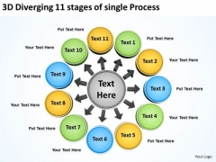 3d Diverging 11 Stages Of Single Process Ppt Charts And Diagrams PowerPoint Templates