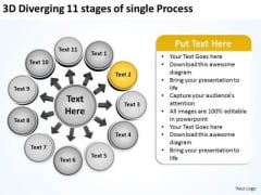 3d Diverging 11 Stages Of Single Process Ppt Pie Diagram PowerPoint Templates