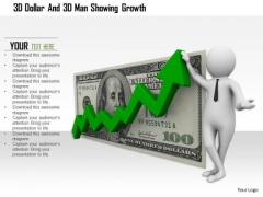 3d Dollar And 3d Man Showing Growth