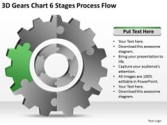 3d Gears Chart 6 Stages Process Flow Ppt Business Development Plan PowerPoint Slides
