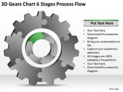 3d Gears Chart 6 Stages Process Flow Ppt Business Plan Example Free PowerPoint Templates