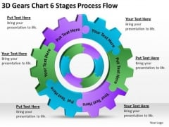 3d Gears Chart 6 Stages Process Flow Ppt Business Plans For Sale PowerPoint Slides