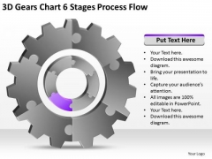 3d Gears Chart 6 Stages Process Flow Ppt Making Business Plan Template PowerPoint Templates
