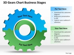 3d Gears Chart Business Stages Online Plan PowerPoint Slides