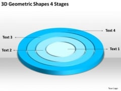 3d Geometric Shapes 4 Stages Written Business Plan PowerPoint Templates