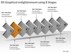 3d Graphical Enlightenment Using 8 Stages Business Tech Support PowerPoint Templates