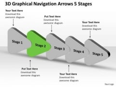 3d Graphical Navigation Arrows 5 Stages Ppt Flow Chart Project PowerPoint Templates