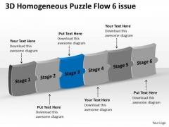 3d Homogeneous Puzzle Flow 6 Issue Chart Maker PowerPoint Slides