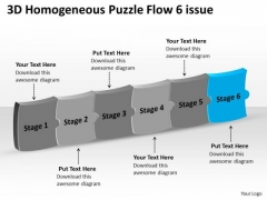 3d Homogeneous Puzzle Flow 6 Issue How To Make Charts PowerPoint Templates